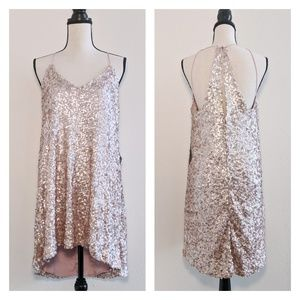 NWT NSR Pale Pink Sequined Swing Mini Dress